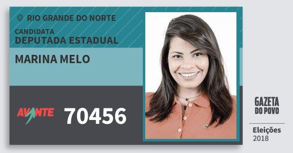 Santinho Marina Melo 70456 (AVANTE) Deputada Estadual | Rio Grande do Norte | Eleições 2018