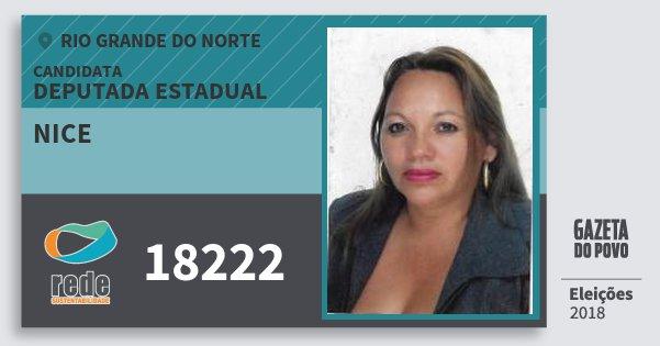 Santinho Nice 18222 (REDE) Deputada Estadual | Rio Grande do Norte | Eleições 2018