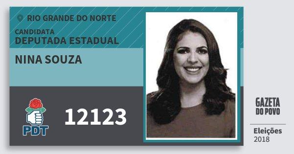 Santinho Nina Souza 12123 (PDT) Deputada Estadual | Rio Grande do Norte | Eleições 2018