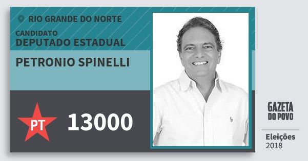 Santinho Petronio Spinelli 13000 (PT) Deputado Estadual | Rio Grande do Norte | Eleições 2018