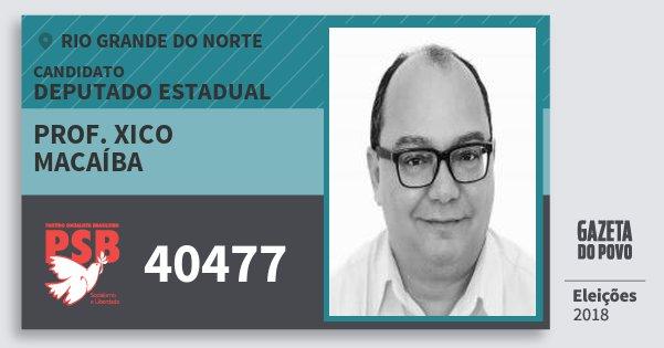 Santinho Prof. Xico Macaíba 40477 (PSB) Deputado Estadual | Rio Grande do Norte | Eleições 2018