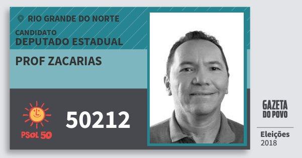 Santinho Prof Zacarias 50212 (PSOL) Deputado Estadual | Rio Grande do Norte | Eleições 2018