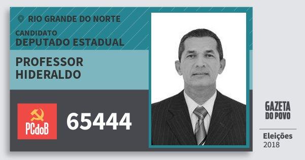 Santinho Professor Hideraldo 65444 (PC do B) Deputado Estadual | Rio Grande do Norte | Eleições 2018