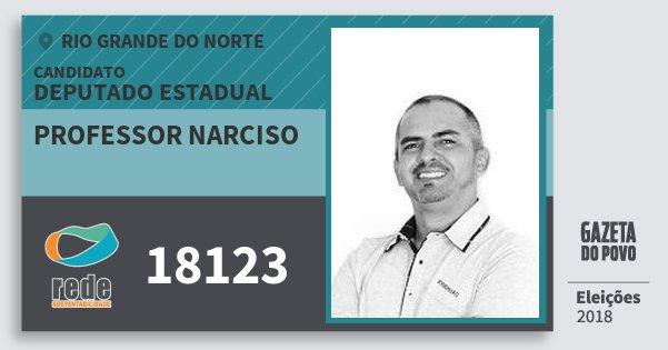 Santinho Professor Narciso 18123 (REDE) Deputado Estadual | Rio Grande do Norte | Eleições 2018
