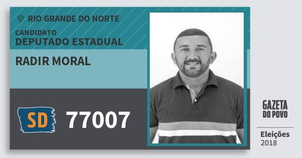 Santinho Radir Moral 77007 (SOLIDARIEDADE) Deputado Estadual | Rio Grande do Norte | Eleições 2018