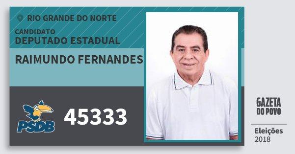 Santinho Raimundo Fernandes 45333 (PSDB) Deputado Estadual | Rio Grande do Norte | Eleições 2018