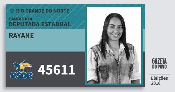 Santinho Rayane 45611 (PSDB) Deputada Estadual | Rio Grande do Norte | Eleições 2018