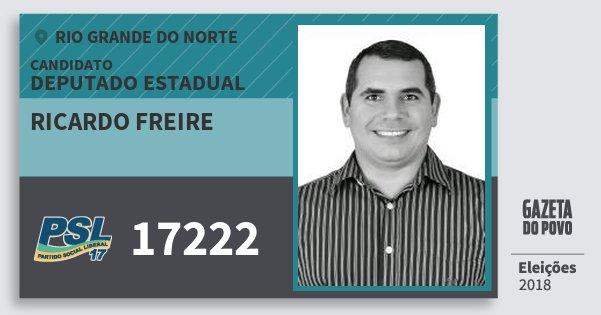 Santinho Ricardo Freire 17222 (PSL) Deputado Estadual | Rio Grande do Norte | Eleições 2018