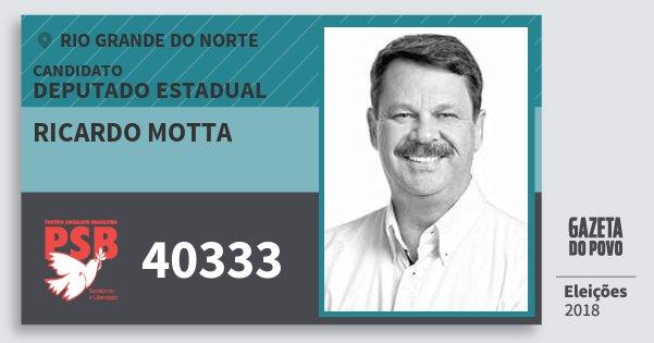 Santinho Ricardo Motta 40333 (PSB) Deputado Estadual | Rio Grande do Norte | Eleições 2018