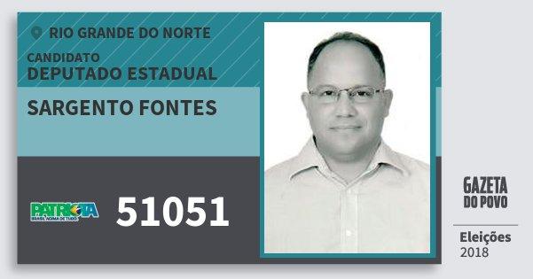 Santinho Sargento Fontes 51051 (PATRI) Deputado Estadual | Rio Grande do Norte | Eleições 2018