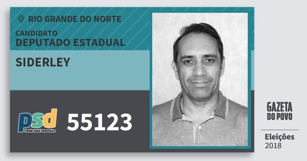Santinho Siderley 55123 (PSD) Deputado Estadual | Rio Grande do Norte | Eleições 2018
