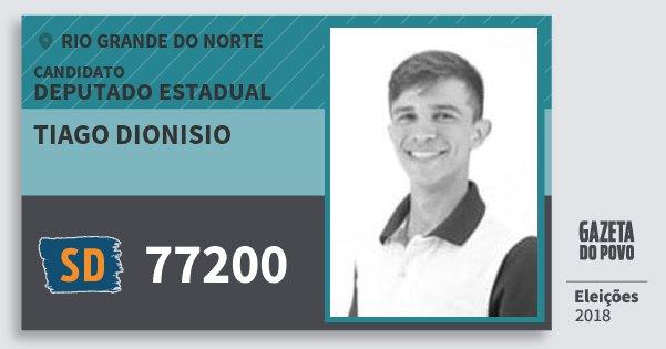 Santinho Tiago Dionisio 77200 (SOLIDARIEDADE) Deputado Estadual | Rio Grande do Norte | Eleições 2018