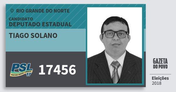 Santinho Tiago Solano 17456 (PSL) Deputado Estadual | Rio Grande do Norte | Eleições 2018