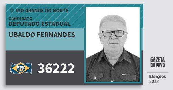 Santinho Ubaldo Fernandes 36222 (PTC) Deputado Estadual | Rio Grande do Norte | Eleições 2018