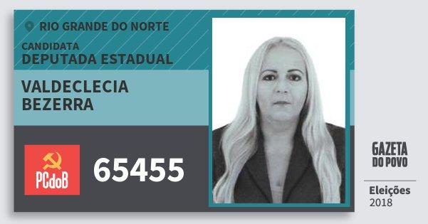 Santinho Valdeclecia Bezerra 65455 (PC do B) Deputada Estadual | Rio Grande do Norte | Eleições 2018