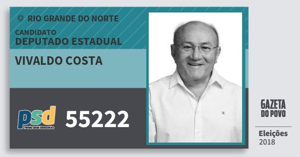 Santinho Vivaldo Costa 55222 (PSD) Deputado Estadual | Rio Grande do Norte | Eleições 2018