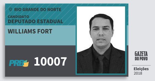 Santinho Williams Fort 10007 (PRB) Deputado Estadual | Rio Grande do Norte | Eleições 2018