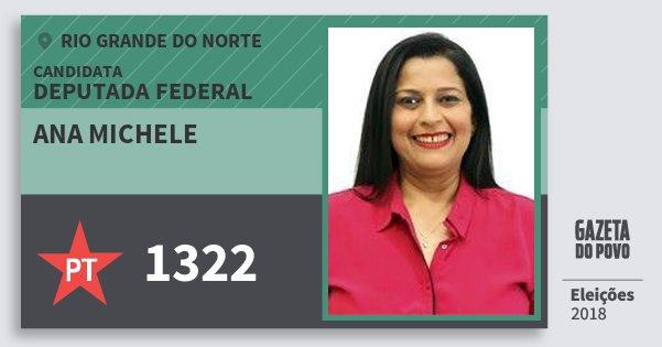 Santinho Ana Michele 1322 (PT) Deputada Federal | Rio Grande do Norte | Eleições 2018