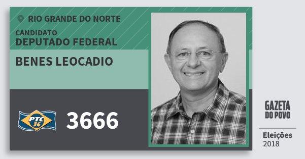 Santinho Benes Leocadio 3666 (PTC) Deputado Federal | Rio Grande do Norte | Eleições 2018