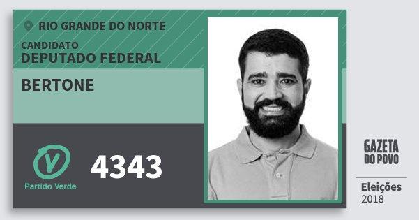Santinho Bertone 4343 (PV) Deputado Federal | Rio Grande do Norte | Eleições 2018