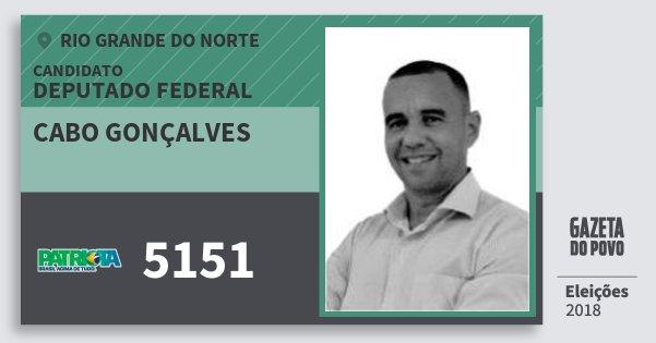 Santinho Cabo Gonçalves 5151 (PATRI) Deputado Federal | Rio Grande do Norte | Eleições 2018