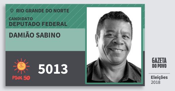 Santinho Damião Sabino 5013 (PSOL) Deputado Federal | Rio Grande do Norte | Eleições 2018