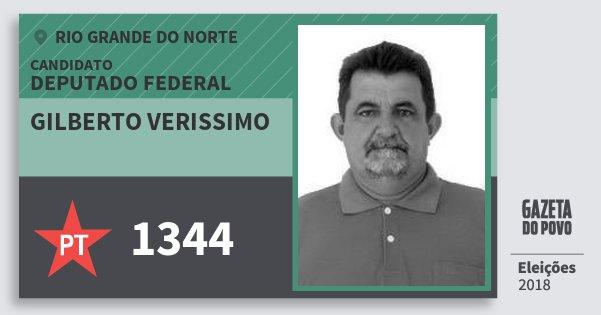 Santinho Gilberto Verissimo 1344 (PT) Deputado Federal | Rio Grande do Norte | Eleições 2018