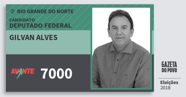 Santinho Gilvan Alves 7000 (AVANTE) Deputado Federal | Rio Grande do Norte | Eleições 2018