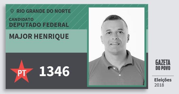 Santinho Major Henrique 1346 (PT) Deputado Federal | Rio Grande do Norte | Eleições 2018