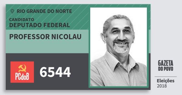 Santinho Professor Nicolau 6544 (PC do B) Deputado Federal | Rio Grande do Norte | Eleições 2018