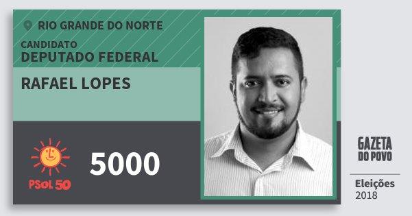 Santinho Rafael Lopes 5000 (PSOL) Deputado Federal | Rio Grande do Norte | Eleições 2018