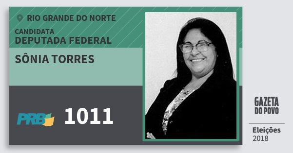 Santinho Sônia Torres 1011 (PRB) Deputada Federal | Rio Grande do Norte | Eleições 2018