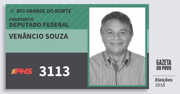 Santinho Venâncio Souza 3113 (PHS) Deputado Federal | Rio Grande do Norte | Eleições 2018