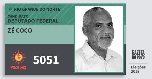 Santinho Zé Coco 5051 (PSOL) Deputado Federal | Rio Grande do Norte | Eleições 2018
