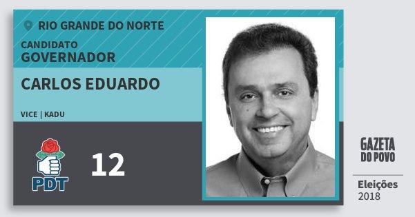 Santinho Carlos Eduardo 12 (PDT) Governador | Rio Grande do Norte | Eleições 2018