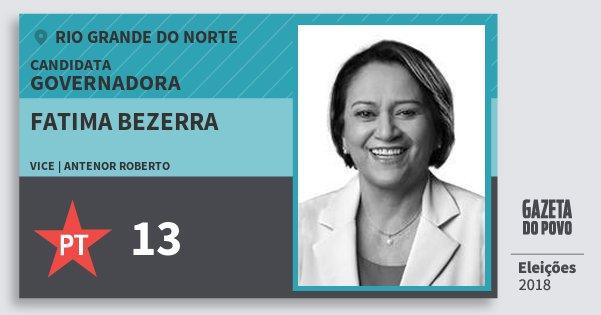 Santinho Fatima Bezerra 13 (PT) Governadora | Rio Grande do Norte | Eleições 2018