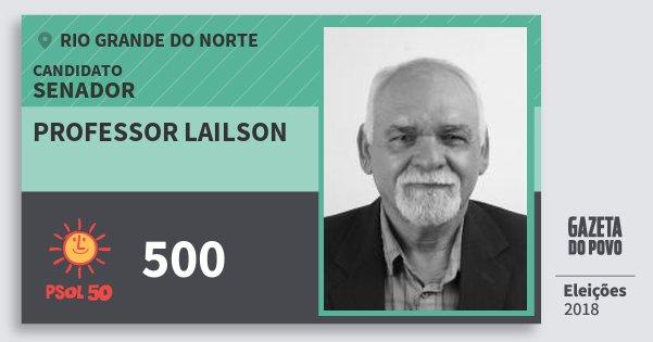Santinho Professor Lailson 500 (PSOL) Senador | Rio Grande do Norte | Eleições 2018
