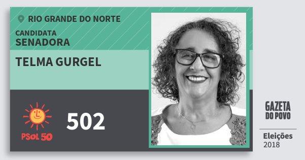 Santinho Telma Gurgel 502 (PSOL) Senadora | Rio Grande do Norte | Eleições 2018
