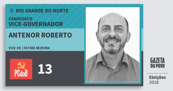 Santinho Antenor Roberto 13 (PC do B) Vice-governador | Rio Grande do Norte | Eleições 2018