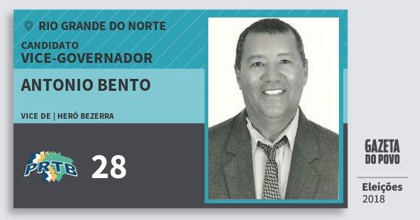 Santinho Antonio Bento 28 (PRTB) Vice-governador | Rio Grande do Norte | Eleições 2018