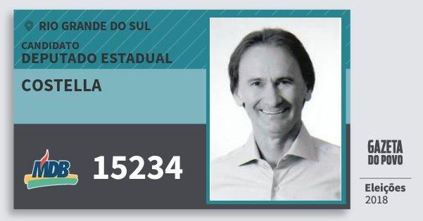 Santinho Costella 15234 (MDB) Deputado Estadual | Rio Grande do Sul | Eleições 2018