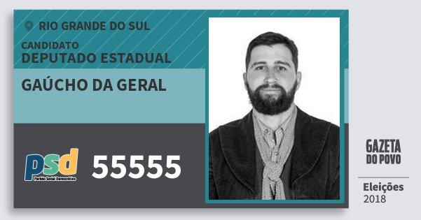 Santinho Gaúcho da Geral 55555 (PSD) Deputado Estadual | Rio Grande do Sul | Eleições 2018