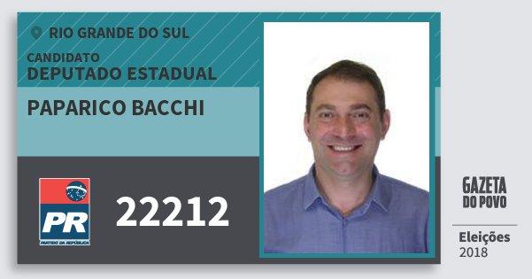 Santinho Paparico Bacchi 22212 (PR) Deputado Estadual | Rio Grande do Sul | Eleições 2018