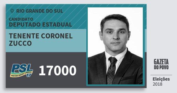 Santinho Tenente Coronel Zucco 17000 (PSL) Deputado Estadual | Rio Grande do Sul | Eleições 2018
