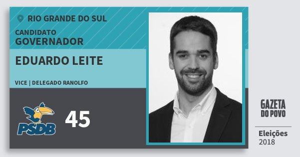 Santinho Eduardo Leite 45 (PSDB) Governador | Rio Grande do Sul | Eleições 2018