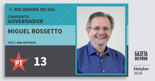 Santinho Miguel Rossetto 13 (PT) Governador | Rio Grande do Sul | Eleições 2018