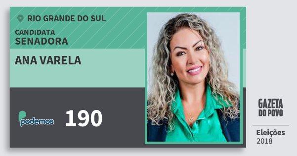 Santinho Ana Varela 190 (PODE) Senadora | Rio Grande do Sul | Eleições 2018
