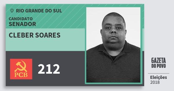 Santinho Cleber Soares 212 (PCB) Senador | Rio Grande do Sul | Eleições 2018