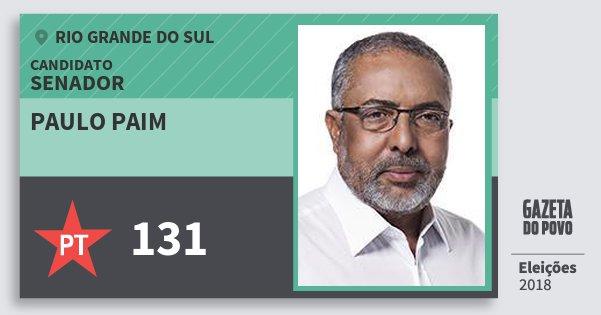 Santinho Paulo Paim 131 (PT) Senador | Rio Grande do Sul | Eleições 2018