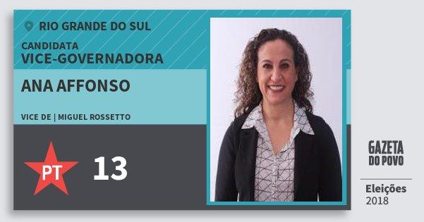 Santinho Ana Affonso 13 (PT) Vice-Governadora | Rio Grande do Sul | Eleições 2018